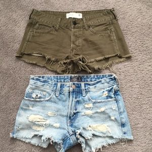 Two pair of Abercrombie and Fitch distressed short
